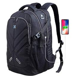 Backpack for Men and Women Fit 17 Inches All 15.6 Inches Laptops Waterproof Shockproof OUTJOY School Bag Travel Laptop Backpack Book Bag Business Work Daypack with USB Charging Port Black