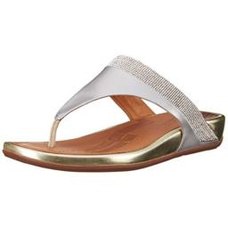 FitFlop Women's Banda Micro Crystal Toe Post, Pale Gold, 7 M US