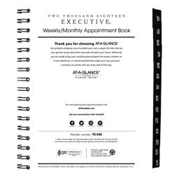 "AT-A-GLANCE Weekly / Monthly Appointment Book Refill, January 2018 - January 2019, 6-5/8"" x 8-3/4"", Executive (7090810)"