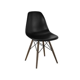 Trige Black Mid Century Side Chair Walnut Base (Set of 5)