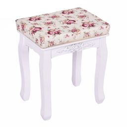 White Cushioned Vanity Stool Piano Seat