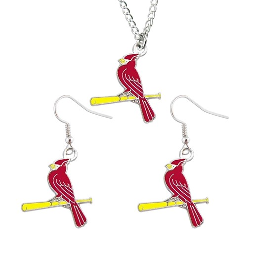MLB St. Louis Cardinals Sports Team Logo Necklace and Dangle Earring Charm Set