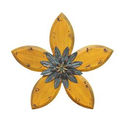 Stratton Home Decor Antique Flower Wall Decor- Yellow/Teal