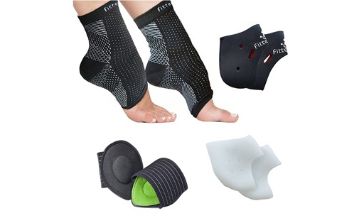 Foot Sleeve (1 Pair), Plantar Fasciitis Silicone Gel Heel Protectors (1 Pair), Arch Support Therapy Wrap (1 Pair) & Cushioned Arch Support (1.