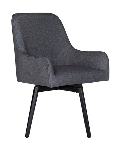 Studio Designs Home Spire Luxe Swivel Dining / Office Chair with Arms and Metal Legs in Charcoal Gray