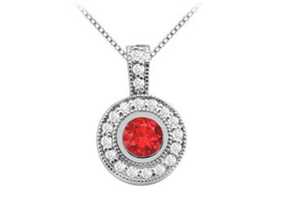 14K White Gold Fashion Pendant with Created Ruby and Cubic Zirconia of 2 Carat Total Gem Weig