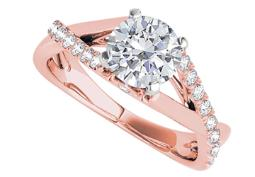 Criss Cross Design Cubic Zirconia Ring in 14K Rose Gold