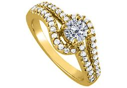 Elegant CZ Solitaire Engagement Ring in Yellow Gold