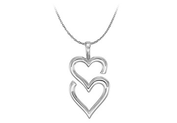 14K White Gold Double Heart Pendant with Free Chain
