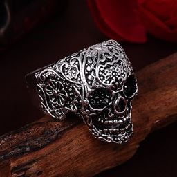 Punk Vintage Trend Men's Ring Gothic Men Skull Flower Biker Zinc Alloy Ring - 8, sa971