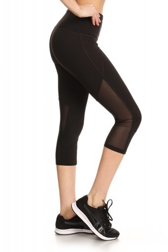 United Trends Group Moisture Wicking Leggings with Side Mesh Panels 2262