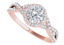 Halo CZ Ring with Criss Cross Design in 14K Rose Gold