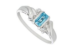 Blue Topaz and Diamond Ring 14K White Gold 1.00 CT TGW