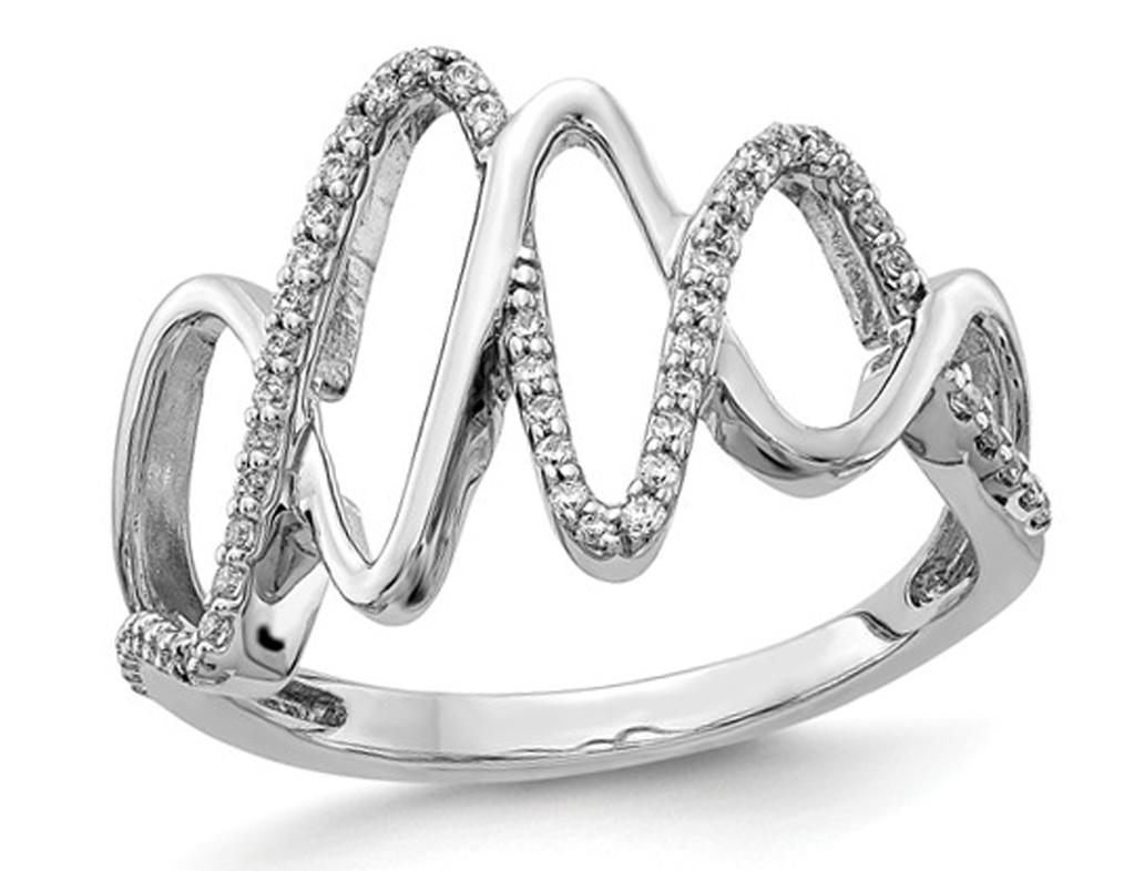 14K White Gold Diamond Fancy Fashion Ring 1/5 Carat (ctw Color H-I, I2-I3)