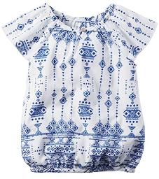 Carter's Little Girls' Geo Printed Top with Cinched Neckline & Hem (4-Toddler)