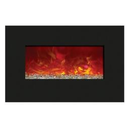 Amantii WM-BI-48-5823 48 In. Electric Fireplace With 58 x 23 In. Black Glass & Back Light