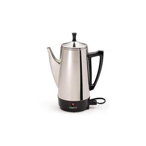 Presto 02811 12 cup coffee percolator ss 12 Cup Stainless Steel Perk brews great tasting coffee, rich, hot, and fast. Makes two to twelve cups of rich, flavorful coffee at cup-a-minute speed, then keeps it piping hot automatically. Signal light tells you when coffee is ready to serve. Stainless steel construction for lasting beauty and easy cleaning.