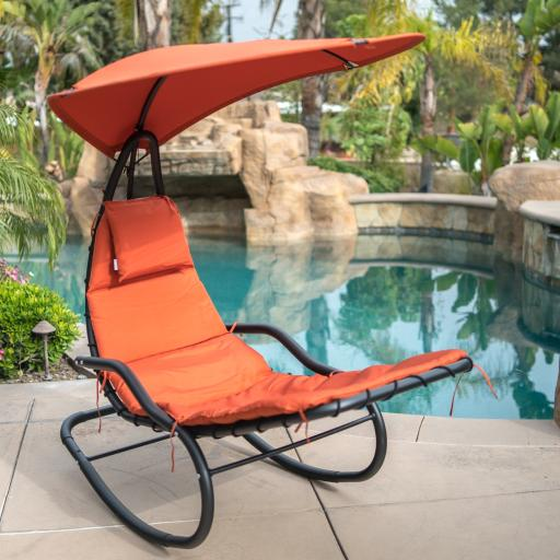 BELLEZE Hanging Rocking Sunshade Canopy Chair Chaise Umbrella Lounge Arc Patio Bungee Padded Cushions Outdoor. Orange