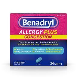 Benadryl Allergy Plus Congestion Ultratabs Tablets