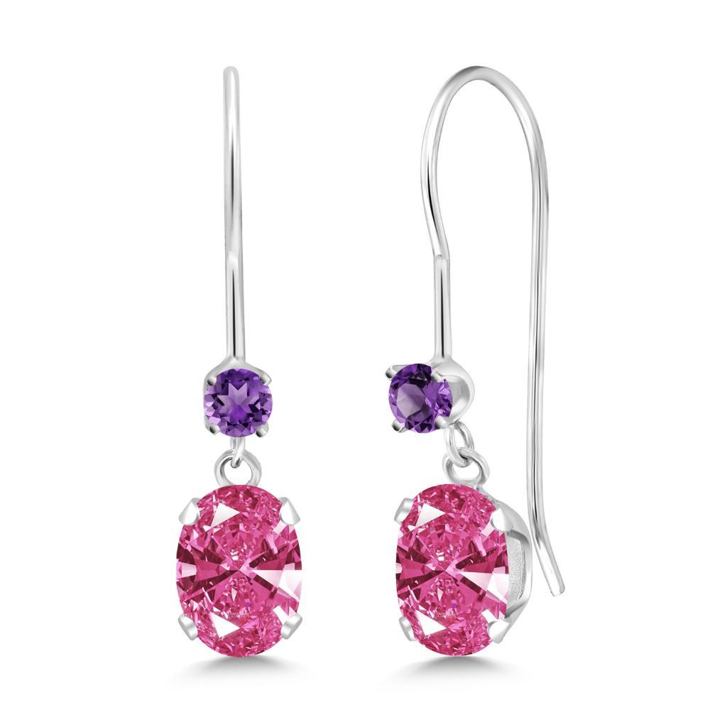 14K White Gold Earrings Purple Amethyst & Set with Pink Zirconia from Swarovski