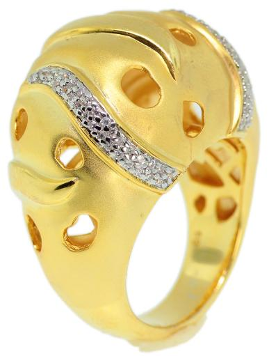 925 Sterling Silver Gold Plated Micro Pave CZ Ring - FNCDLS02