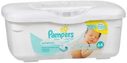 Pampers Wipes Sensitive - 64 ct, Pack of 4
