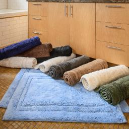 2 Piece Luxurious Cotton Bath Rug Set With Non-Slip Backing, 10 Colors
