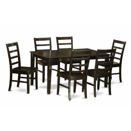 East West Furniture CAPF7-CAP-W 7 Piece Formal Dining Room Set-Table and 6 Matching Dining Chairs