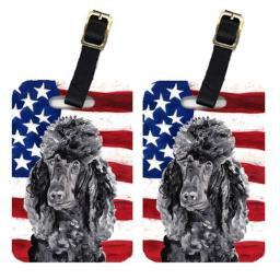 Carolines Treasures SC9626BT Pair Of Black Standard Poodle With American Flag Usa Luggage Tags