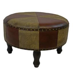 International Caravan YWLF-2523-MX Faux Leather Round Stool, Mixed Patch Work - Large