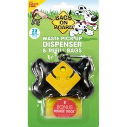 Bags On Board 3203910400 Black Bags On Board Waste Pick-Up Dispenser And Refill Bags With Dookie Dock 30 Bags Black