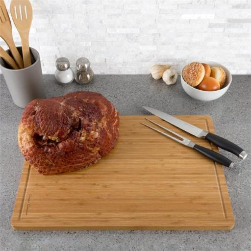 Classic Cuisine M030208 Extra Large Bamboo Cutting Board Thick, Eco Friendly & Antibacterial Chopping & Serving Board with Juice Groove