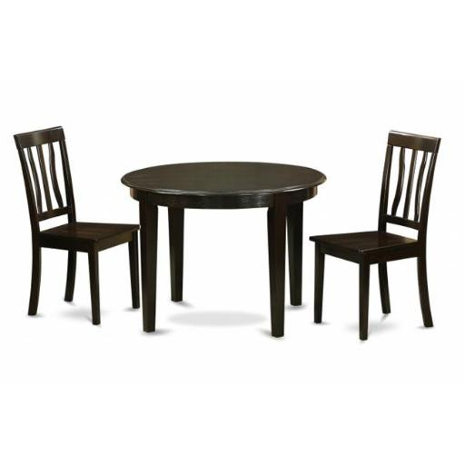 East West Furniture BOAN3-CAP-W 3 Piece Kitchen Nook Dining Set-Kitchen Table and 2 Dinette Chairs