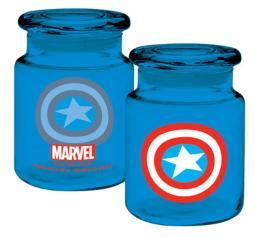 Marvel Captain America Logo Apothecary Jar Stash Jar 6oz Glass Blue