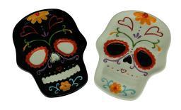 Set of 2 Food Safe Ceramic Day of the Dead Sugar Skull Plates