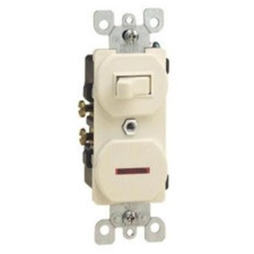 Leviton S01-05226-0is Combination Switch & Pilot Light 15amp - Ivory