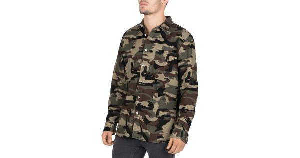 Barney Cools Mens Camouflage Corduroy Button-Down Shirt