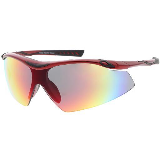 Semi Rimless Wrap Sports Sunglasses Mirror Shield Lens 65mm