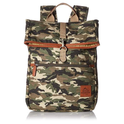Buxton Men's Expedition Ii Huntington Gear Fold-Over Canvas Backpack Camo