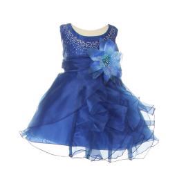 Cinderella Couture Baby Girls Royal Blue Organza Cascade Ruffle Dress 6-24M