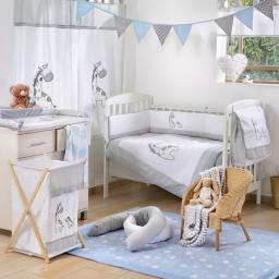 Gray Giraffe Crib Bedding Set (4PC Bedding Set + 1 set Curtain)