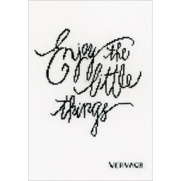 """Enjoy The Little Things On Fabric Counted Cross Stitch Kit-6.75""""X9.75"""" 14 Count V0156397"""