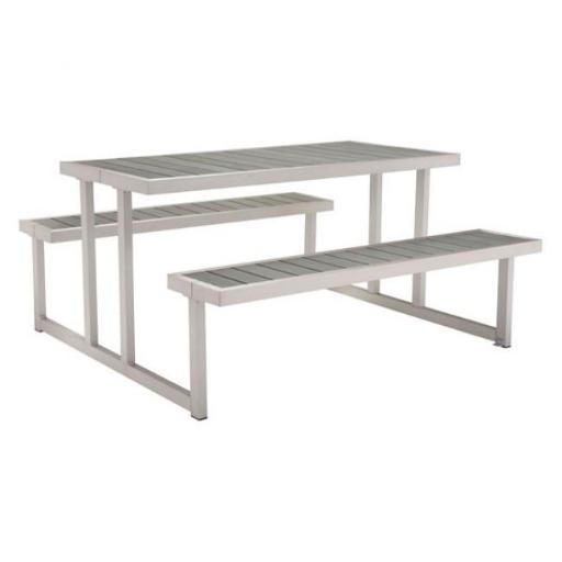 Zuo Modern 703784 Cuomo Brushed Aluminum Picnic Table