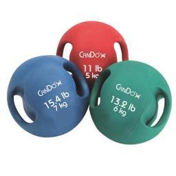 Cando 10-3281 8.8 lbs Molded Dual Handle Medicine Ball, Yellow