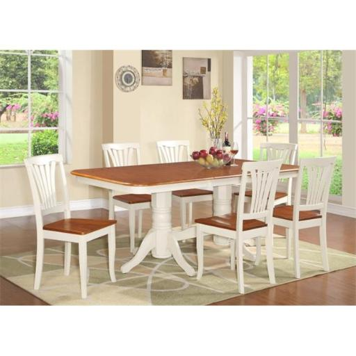 East West Furniture NAAV7-WHI-W 7 Piece Dining Room Set-Dining Table With A Leaf and 6 Dining Room Chairs