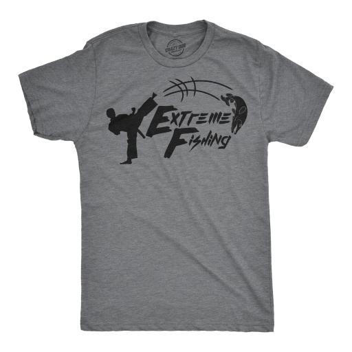 Mens Extreme Fishing Tshirt Funny Karate Kick Fish Tee For Guys