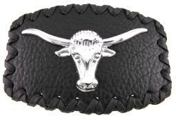 Black Leather / Chrome Longhorn Steer Belt Buckle