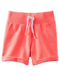 OshKosh B'gosh Little Girls' French Terry Shorts, Coral, 4 Kids
