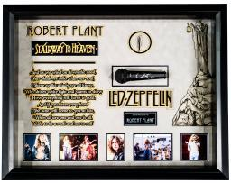 Led Zeppelin - Robert Plant Autographed Microphone Signed in Framed Case