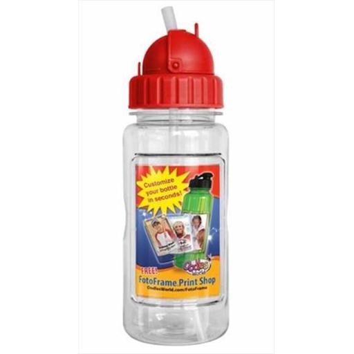 Oodles World 108775 Water Bottle 14 Oz With Straw & Fotoframe Red